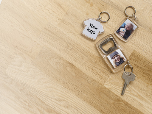 Werbeartikel Transparenter Schlüsselanhänger Crystal bedrucken