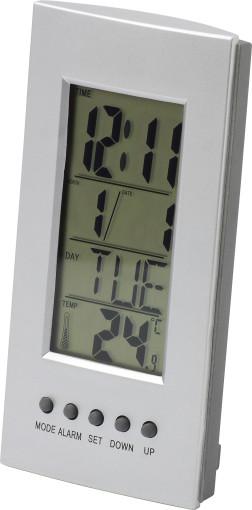 Werbeartikel Tisch-/Alarmuhr mit Kalender und Thermometer